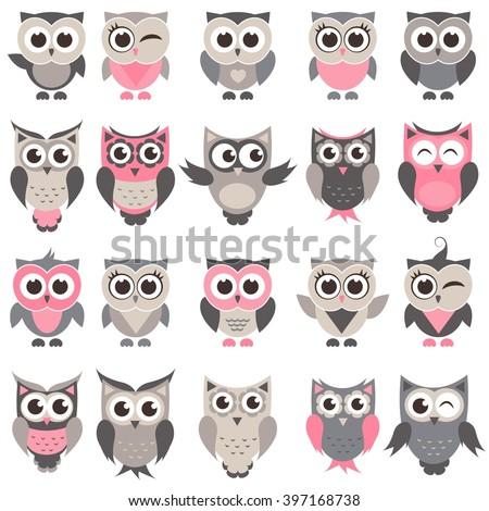 cute owls and owlets set