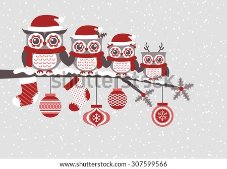 cute owls christmas seasonal
