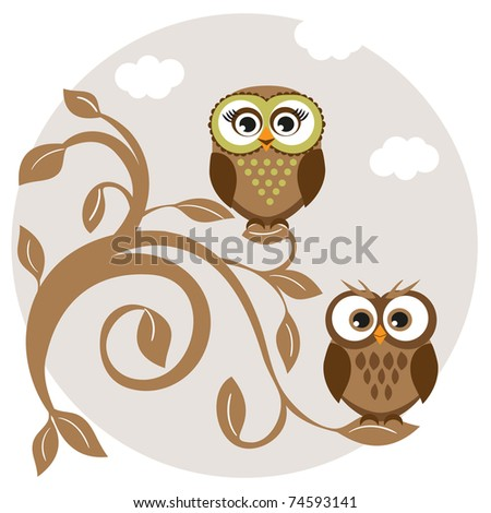 Cute Owl Logo Cute Owls Couple on The Tree