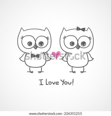 cute owls couple  vector hand