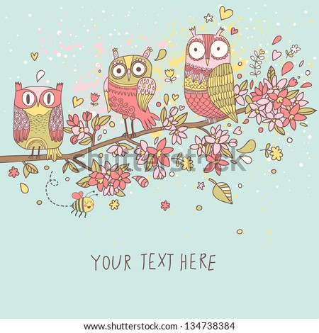 Cute Owls On Branch In Flowers Spring Concept Background Bright Illustration Can Be