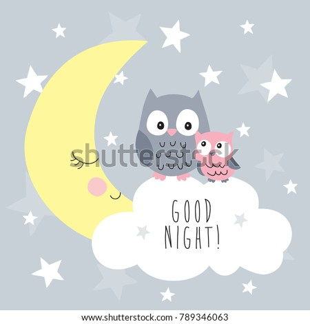 cute owls on the clouds vector