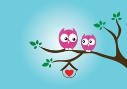 Cute owls resting on the branch isolated on white background. Cartoon owls love design.