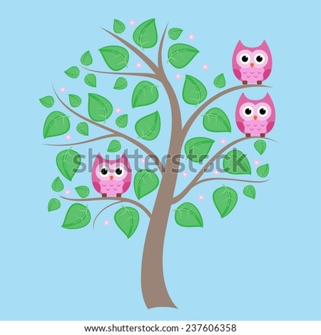 cute owls sitting on the spring