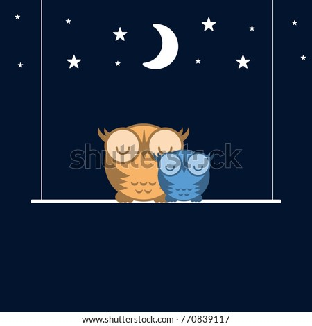 cute owls sleeping on a swing