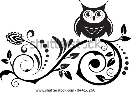 stock vector : cute own on a branch with decorative leaves