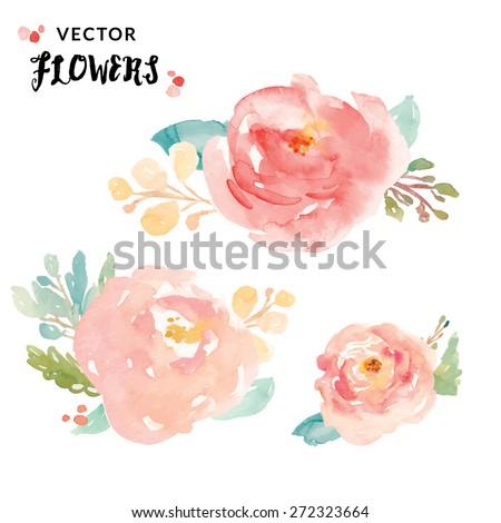 Cute Painted Vector Watercolor Flowers.