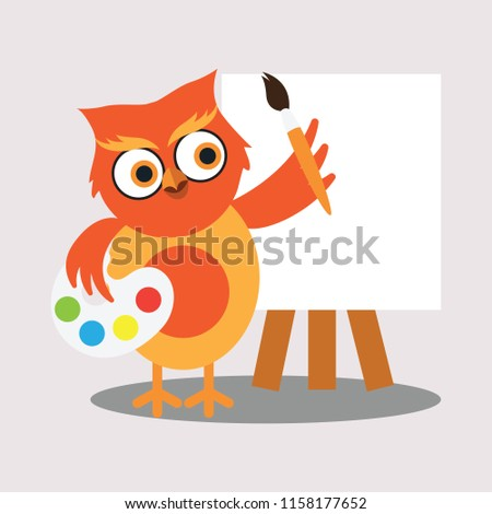 cute painter owl holding color