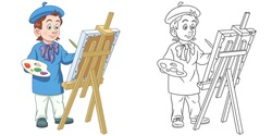 Cute painting artist. Coloring page and colorful clipart character. Cartoon design for t shirt print, icon, logo, label, patch or sticker. Vector illustration.