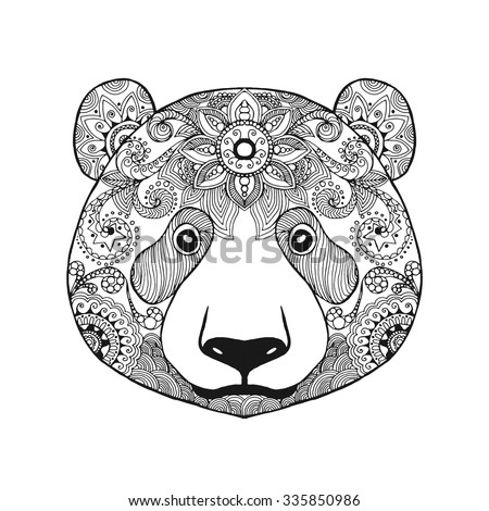 Cute Panda Bear Black White Hand Drawn Doodle Animal