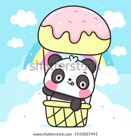 Cute Panda bear cartoon in sweet ice cream balloon on sky with pastel rainbow: Kawaii animal zoo vector (girly doodle). Illustration vector. Perfect Nursery children, kids, greeting card, baby shower.