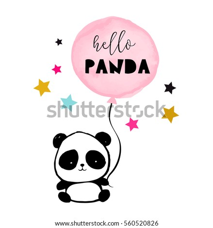 Cute Panda bear illustration, simple style card, poster