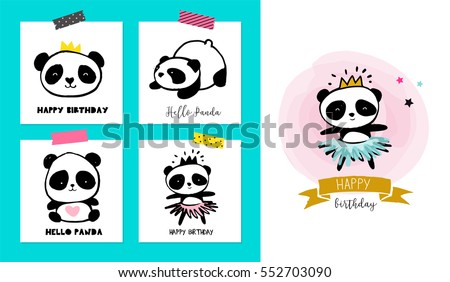 Shutterstock Cute Panda bear illustrations, collection of colorful simple style cards, posters