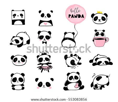 Cute Panda bear illustrations, collection of vector hand drawn elements, black and white icons