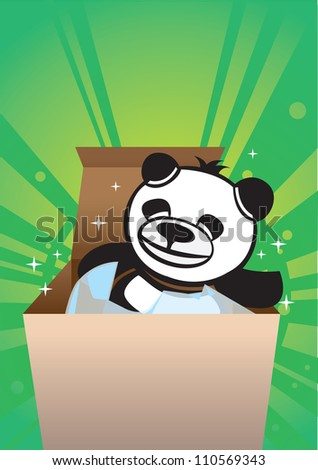 Cute panda bear inside a gift box.