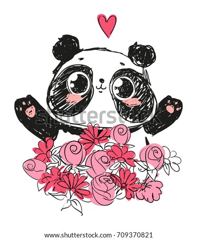 Cute Panda Bear, vector illustration. Animal vector. panda with flowers. Card for Valentine's Day,