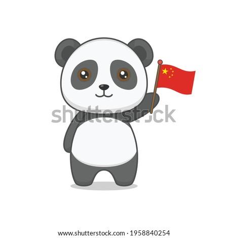 cute panda character holding chinese flag Foto stock ©