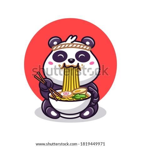cute panda eating ramen noodle