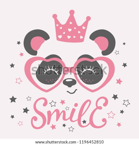 Cute panda face with crown, pink heart glasses. Princess. Smile slogan. Vector illustration for children print design, kids t-shirt, baby wear
