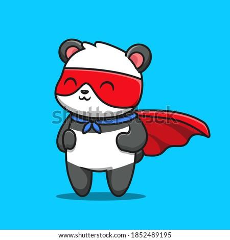 Cute Panda Hero Cartoon Vector Icon Illustration. Animal Hero Icon Concept Isolated Premium Vector. Flat Cartoon Style