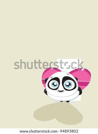 Cute  panda hiding heart shaped gift box with copy space Vector eps8