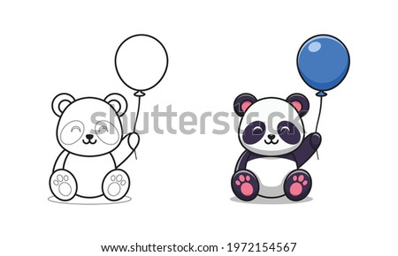 cute panda holding balloon