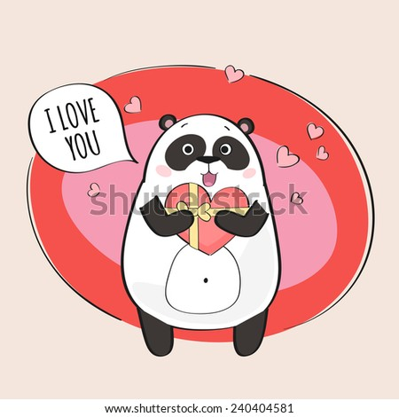 Cute panda in love