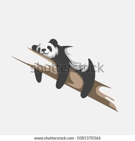 cute panda logo vector template ,cute Panda Bear Sleeping on a Tree Branch,