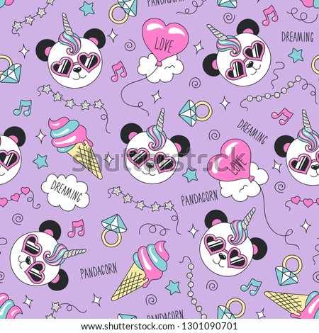 Cute panda pattern on a lilac background. Colorful trendy seamless pattern. Fashion illustration drawing in modern style for clothes. Drawing for kids clothes, t-shirts, fabrics or packaging.