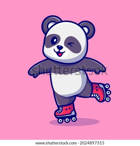 Cute Panda Plying Roller Skate Cartoon Vector Icon Illustration. Animal Sport Icon Concept Isolated Premium Vector. Flat Cartoon Style