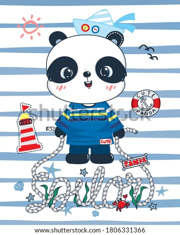 Cute panda sailor cartoon holding rope hand drawn lettering sailor standing on blue and white striped background illustration vector.