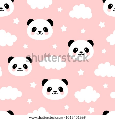 Cute Panda Seamless Pattern, Animal Background with Clouds for Kids