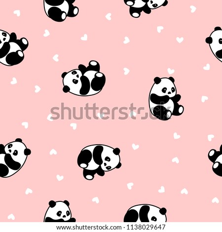 Cute Panda Seamless Pattern, Animal Background with hearts for Kids