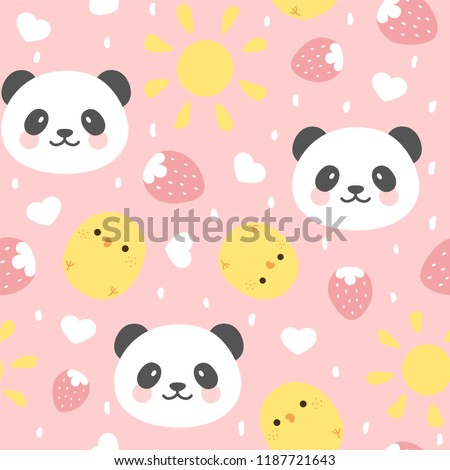 Cute Panda Seamless Pattern with chick and strawberry, Animal Background with stars and heart for Kids, Vector illustration