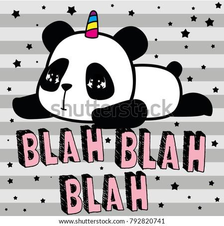 cute panda, sweet character for your design, blah blah blah