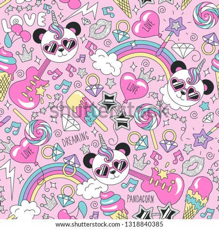 Cute panda unicorn pattern on a pink background. Colorful trendy seamless pattern. Fashion illustration drawing in modern style for clothes. Drawing for kids clothes, t-shirts, fabrics or packaging.