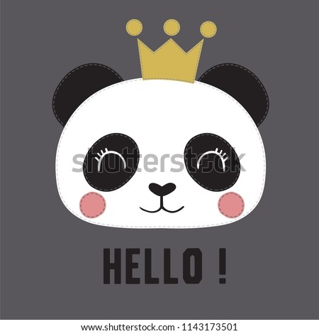 Cute panda vector. Can be used for kids or babies t shirt design. Fashion print graphic.Cartoon animal illustration