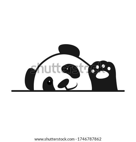 cute panda waving paw cartoon