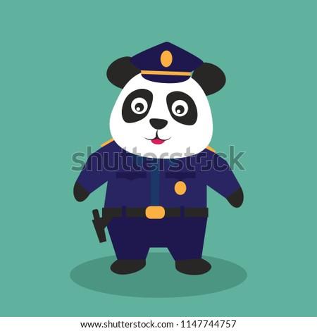 cute panda wearing police uniform. vector illustration