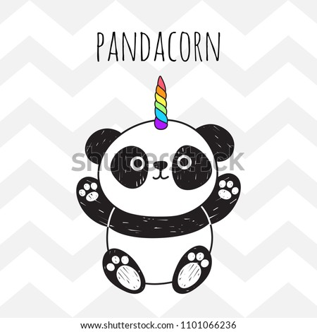 Cute panda with a unicorn horn in the color of the rainbow. Pandacorn. Vector illustration in the Scandinavian style. Suitable for textiles, postcards, posters, printing, decorating children's item.