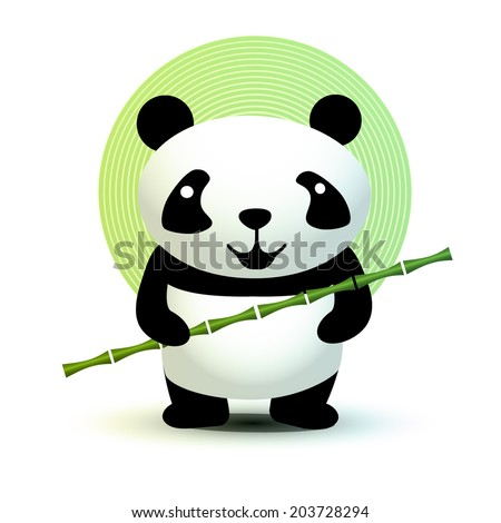 Cute Panda with bamboo stick. Vector illustration.