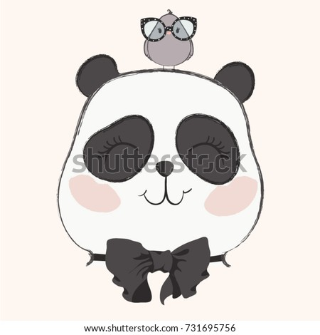 cute panda with bird vector