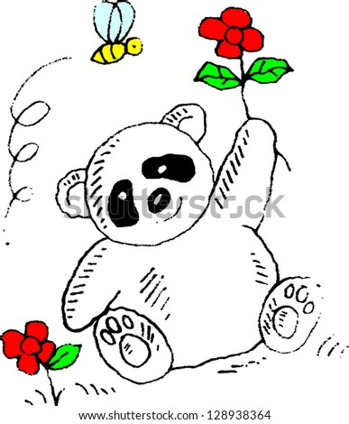 cute panda with rose
