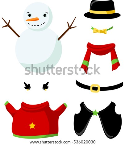 Stock Photo Cute paper doll with winter outfits. Smiling snowman in black hat. Vector.