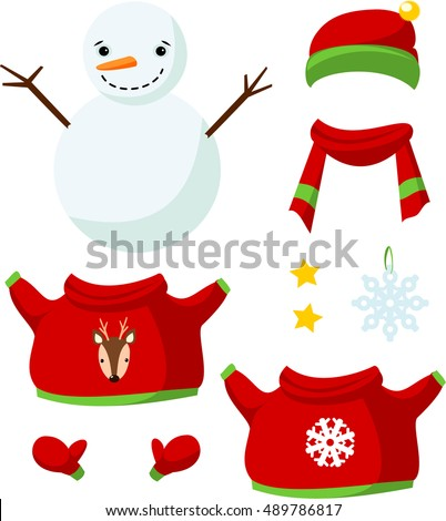 Stock Photo Cute paper doll with winter outfits. Smiling snowman. Vector.