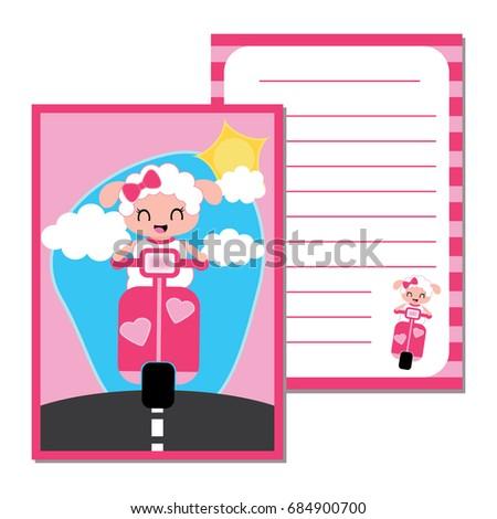 cute paper note with cute sheep