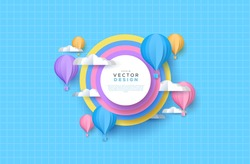 Cute papercut sky landscape background with white copy space circle frame. Hot air balloon, rainbow and clouds made in realistic paper craft art or origami style for baby nursery, children design.