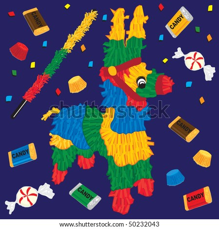 Cute Party Pinata with candy and confetti.