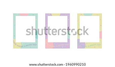 Cute pastel color photo frame frame illustration set.