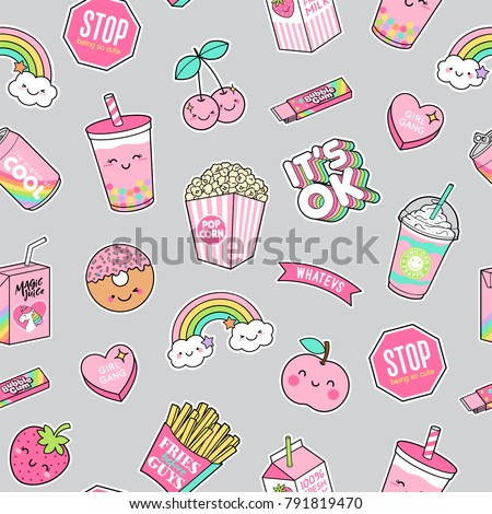 cute pastel foods patches